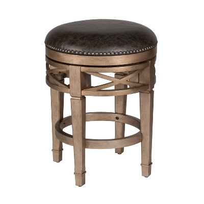 Chesterfield Backless Wood Swivel Counter Height Barstool Gold/Metallic Silver - Hillsdale Furniture