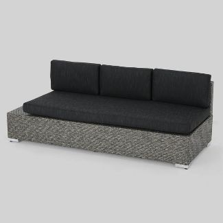 All-Weather Wicker Patio Sofa - Black - Christopher Knight Home