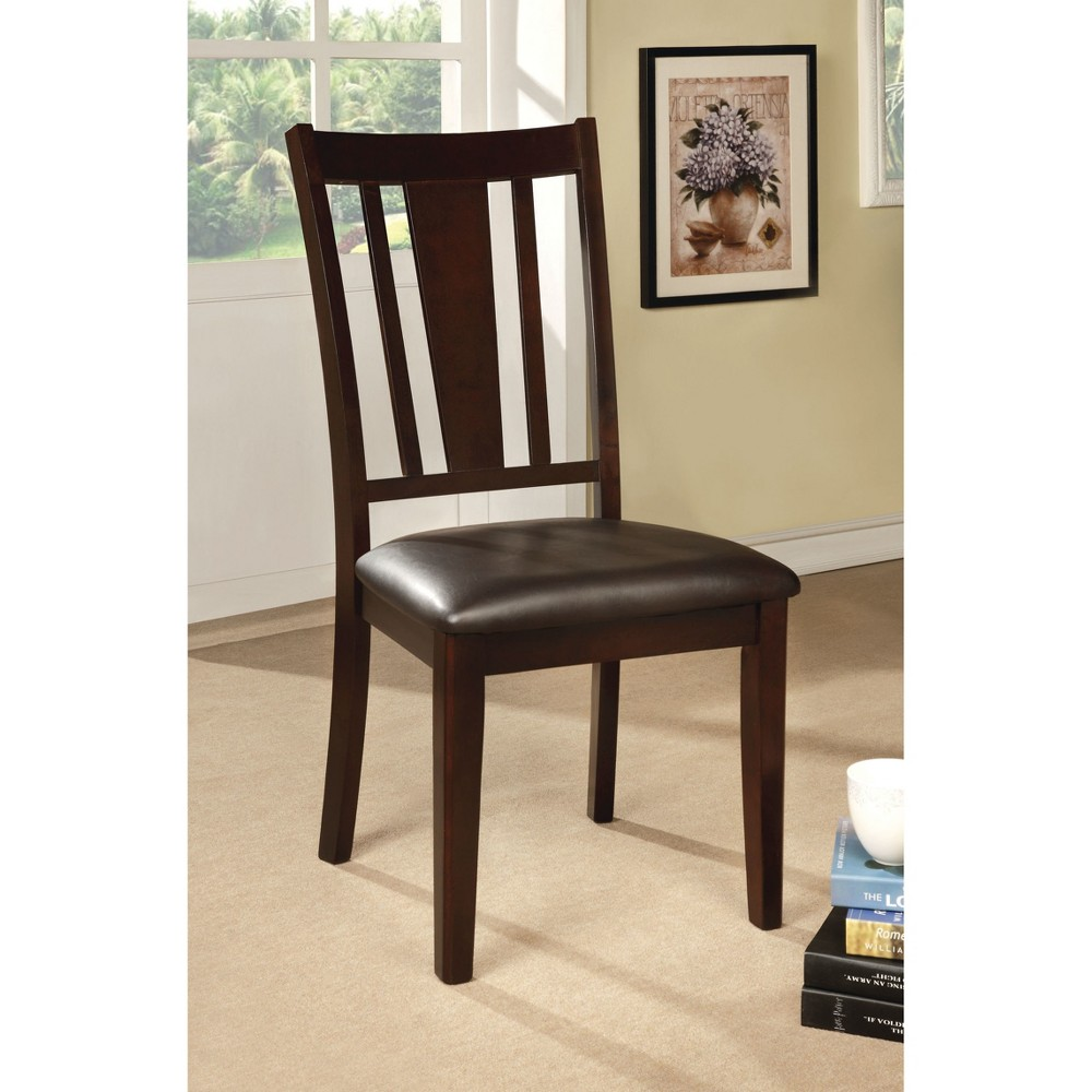 ioHomes Carved Cutout Back Side Chair Wood/Espresso (Set of 2)