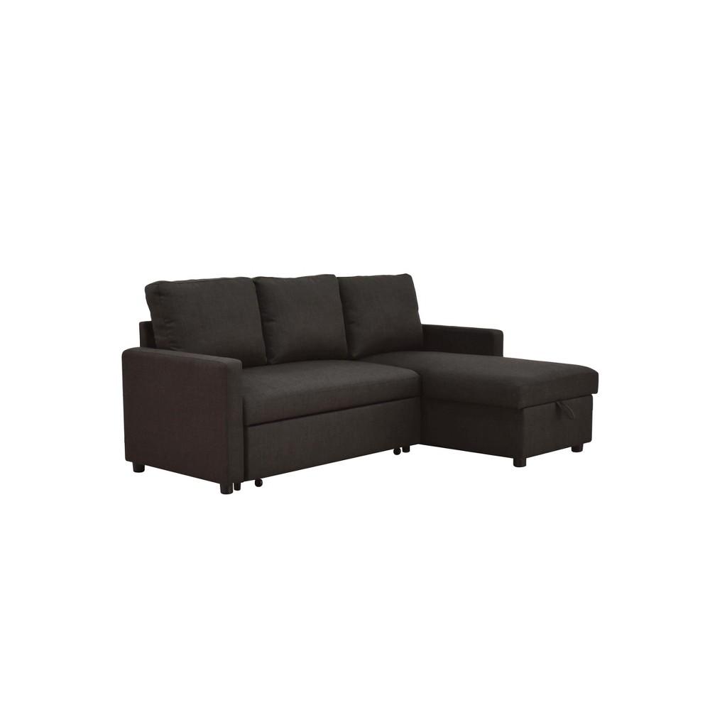 Hiltons Sectional Sofa with Sleeper Charcoal (Grey) - Acme
