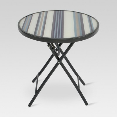Glass Folding Round Patio Accent Table - Stripe - Threshold™