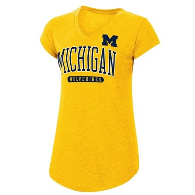 Michigan Wolverines Women/'s T-Shirt Mesh Jersey NCAA All American V-Neck G-III