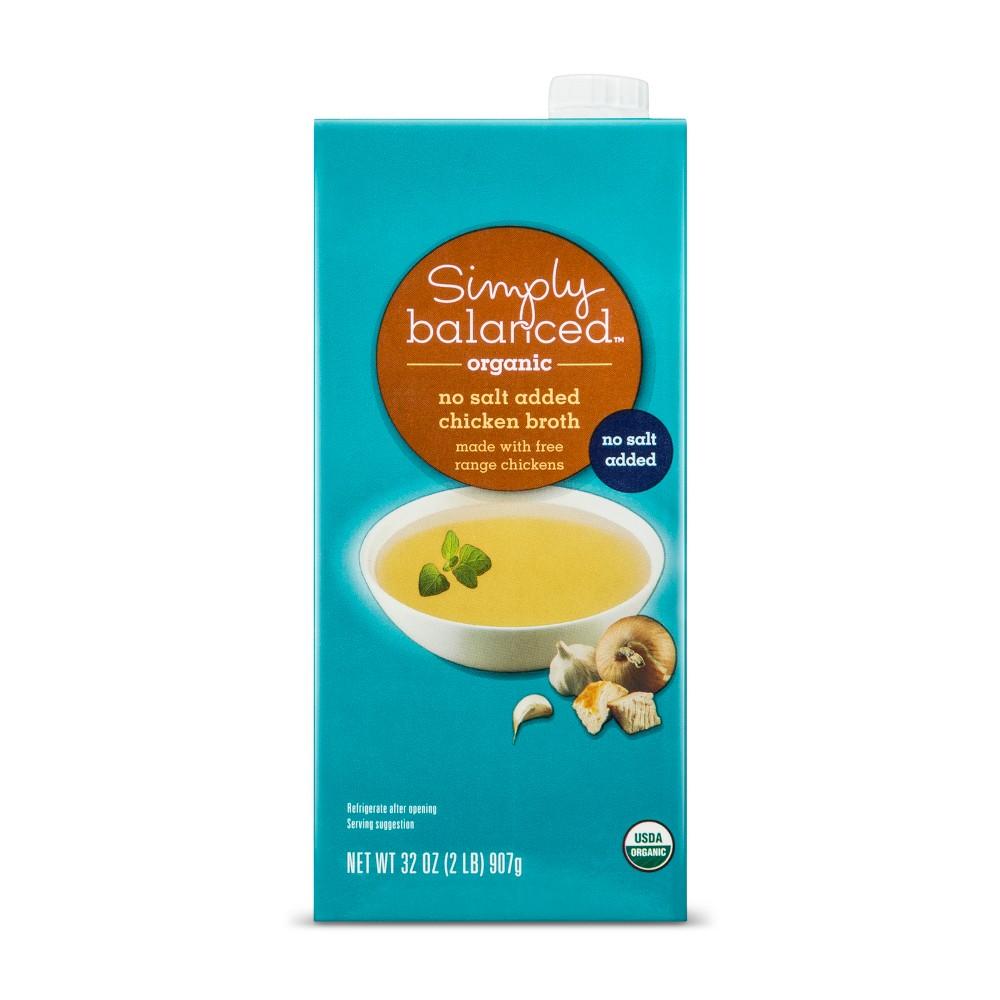 Organic No Salt Added Chicken Broth 32oz - Simply Balanced