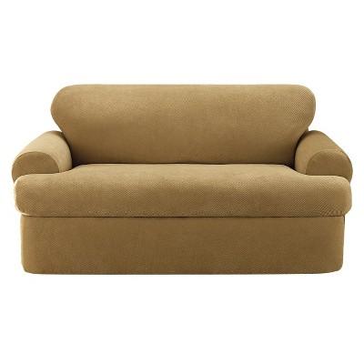 Merveilleux Stretch Pique 3pc T Sofa Slipcover   Sure Fit
