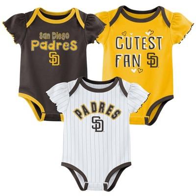 MLB San Diego Padres Baby Girls' 3pk Bodysuit Set