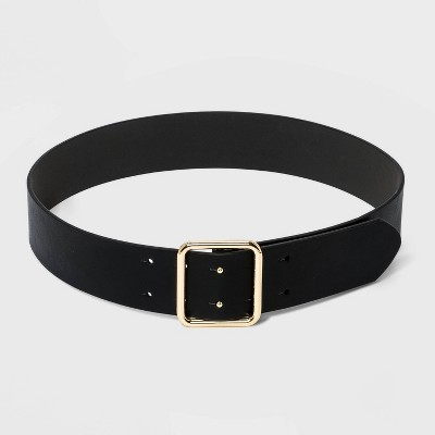 Women's Double Center Prong Belt - A New Day™ Black