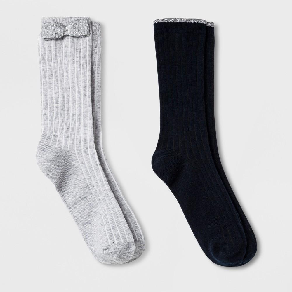 Girls' 2pk Crew Socks - Cat & Jack Navy/Gray S, Blue Gray