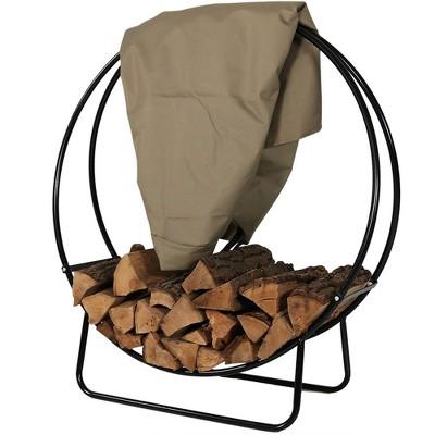 "Sunnydaze Outdoor Heavy-Duty Steel Firewood Log Hoop Storage Rack with Weather-Resistant PVC Log Hoop Cover - 48"" - Khaki"