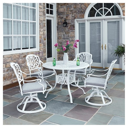 Home Styles Floral Blossom 5 Piece Patio Dining Set - White - image 1 of 1
