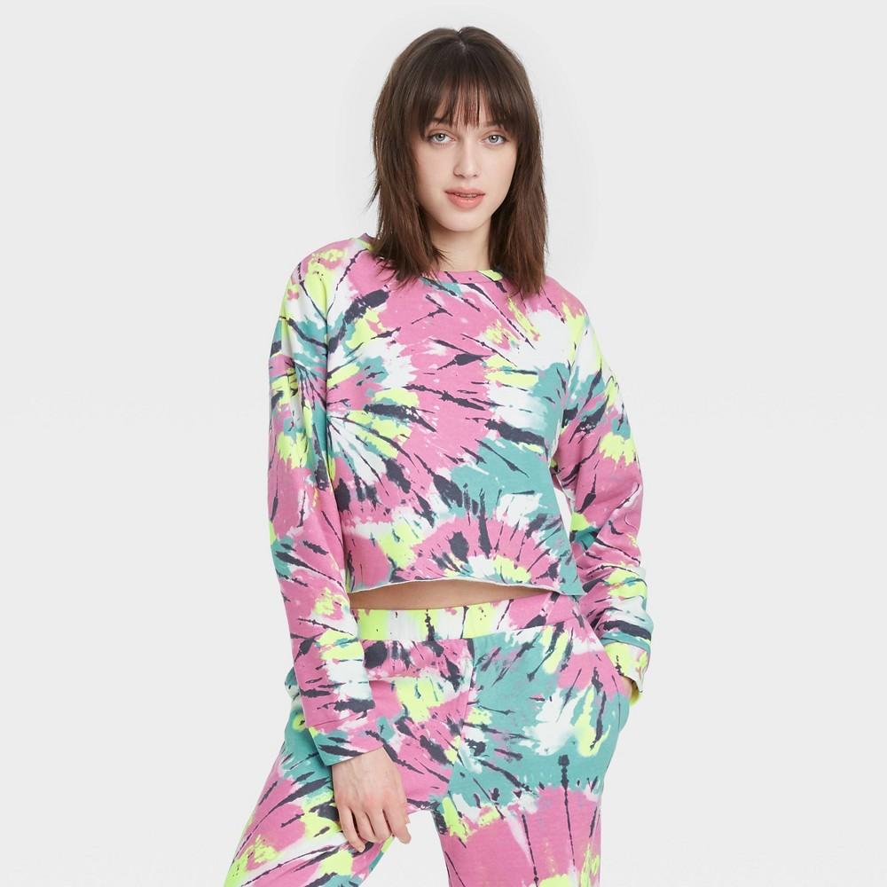 70s Workout Clothes | 80s Tracksuits, Running Shorts, Leotards Womens Tie-Dye Cropped Fleece Lounge Sweatshirt - Colsie Pink XL $20.00 AT vintagedancer.com