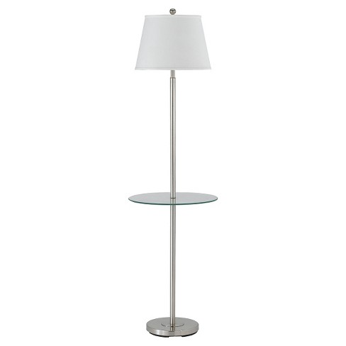 premium selection e2df1 04a90 Cal Lighting Andros Brushed Steel finish Metal Floor Lamp with Glass Tray  (Lamp Only)