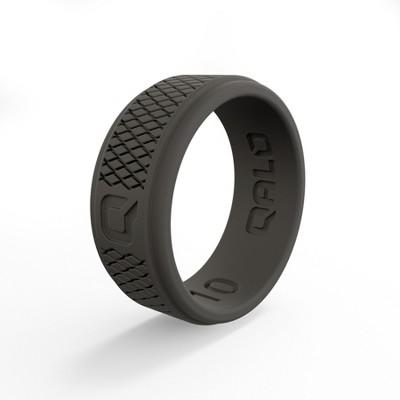 Qalo Men's Crosshatch Dark Gray Q2X Ring