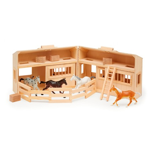 Melissa Doug Fold And Go Wooden Horse Stable Dollhouse With Handle And Toy Horses 11 Pc