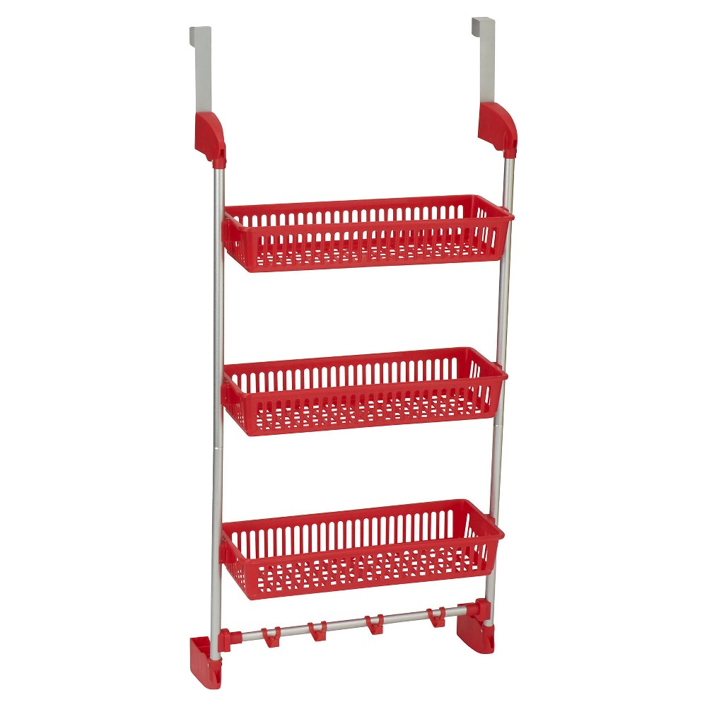 Household Essentials - 3-Basket Over-the-Door Organizer - Red The 3-Basket Over-the-Door Organizer from Household Essentials is an intelligent way to stay organized. The rack has 3 sturdy, plastic baskets to hold everything from bathroom toiletries to kitchen supplies. There are 4 hooks on the bottom for hanging loofahs, pot holders, scarves, ties, and more. This is the perfect organizer for kitchens, bathrooms and dorms. Color: Red