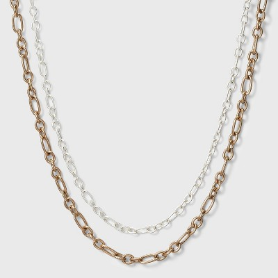 Mixed Chain Layered Necklace Set 2pc - Universal Thread™