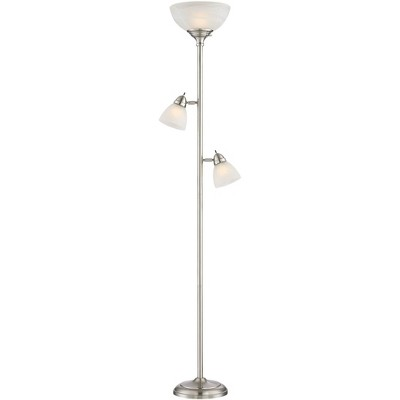 360 Lighting Modern Torchiere Floor Lamp 3-Light Brushed Steel Frosted White Glass Shades for Living Room Reading Bedroom Office