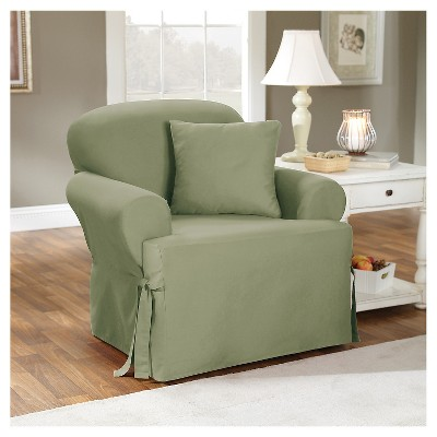 Cotton Duck Tcushion Chair Slipcover Sage Green - Sure Fit