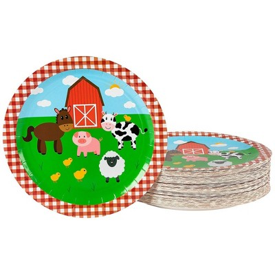 "Blue Panda 80-Pack Disposable Paper Plates, Farm Animals Party Supplies for Dinner, 9""x9"""