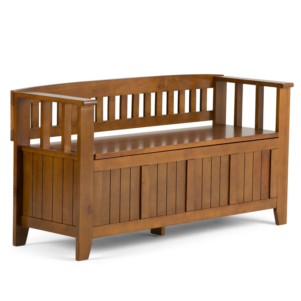 Normandy Solid Wood Entryway Storage Bench Light Avalon Brown - Wyndenhall, Light Brown