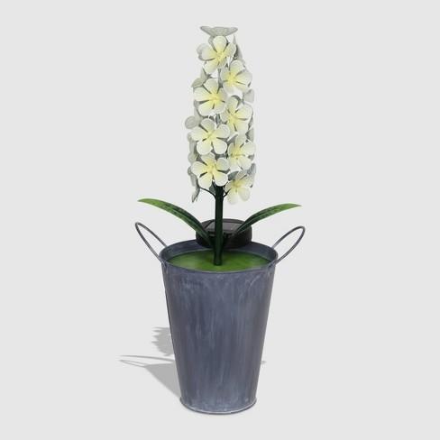 "20"" Resin Solar Flower In Metal Bucket White - Exhart - image 1 of 2"