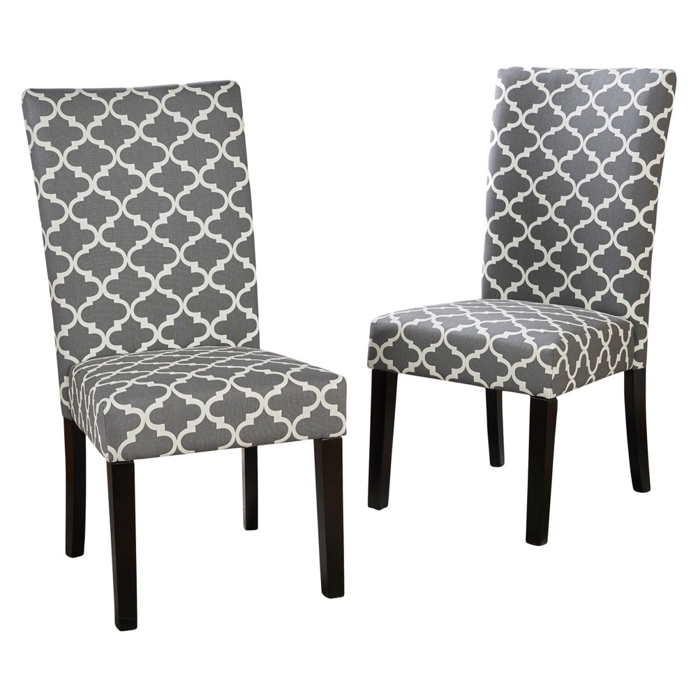 Aurora Fabric Geometric Print Dining Chair Gray (Set of 2) - Christopher Knight Home
