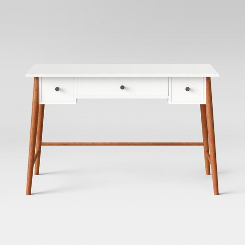 amherst mid century modern three drawer writing desk white brown project 62 target. Black Bedroom Furniture Sets. Home Design Ideas