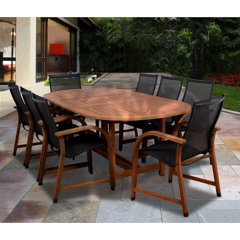 Gables 9 Piece Wood Sling Extendable Oval Patio Dining Furniture Set