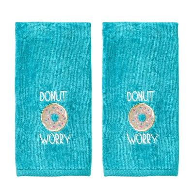 2pc Donut Worry Hand Towel Aqua - SKL Home