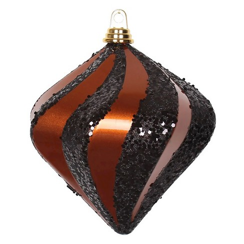 "8"" Copper Candy Glitter Swirl Diamond Christmas Ornament - image 1 of 1"