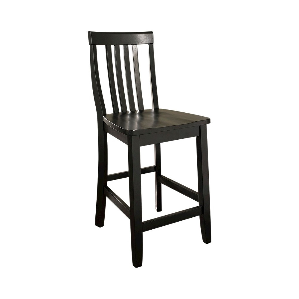 "Image of ""24"""" School House Counter Stool Black (Set of Two) - Crosley"""