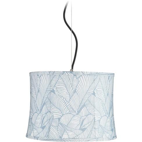 "Possini Euro Design Grange Blue Leaf Shade 14"" Wide Pendant Light - image 1 of 1"