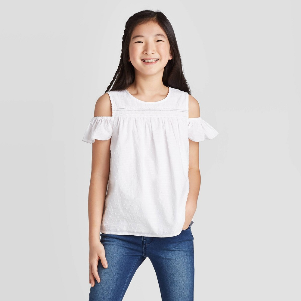 Image of Girls' Cold Shoulder Blouse - Cat & Jack Fresh White S, Girl's, Size: Small