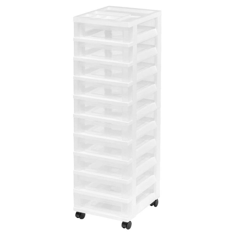 Image of Iris 10-Drawer Plastic Storage Rolling Cart, White
