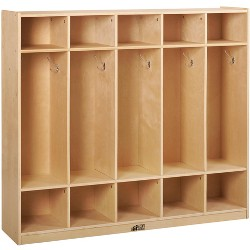 ECR4Kids Birch School Coat Locker for Toddlers and Kids, 5-Section, Natural