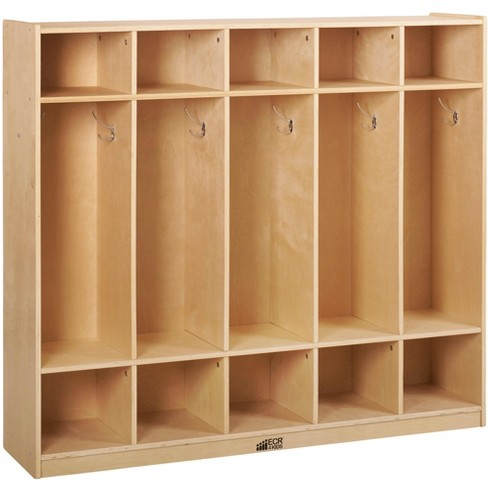 ECR4Kids Birch School Coat Locker for Toddlers and Kids, 5-Section, Natural - image 1 of 1