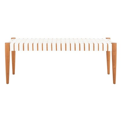 Amalia Leather Weave Bench - Safavieh