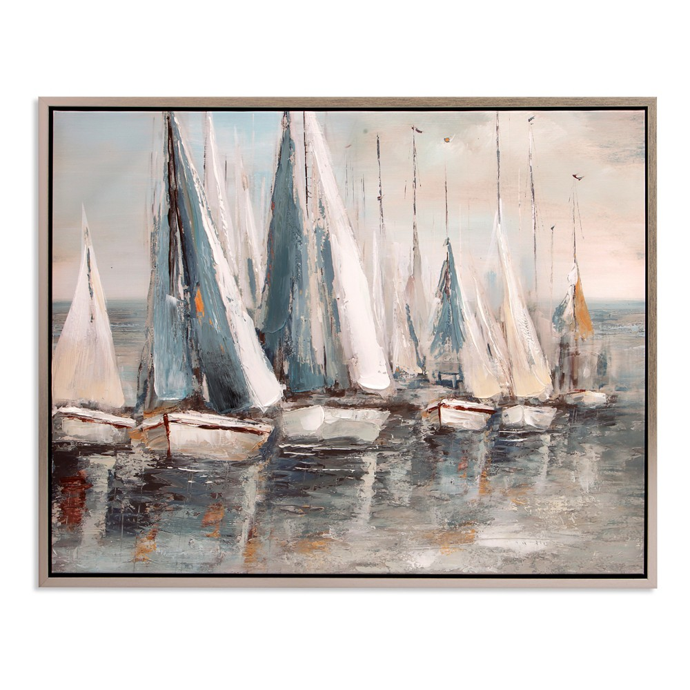 "Image of ""30""""x38"""" Painterly Sailboats Coastal Framed Canvas Art Silver - Patton Wall Decor"""
