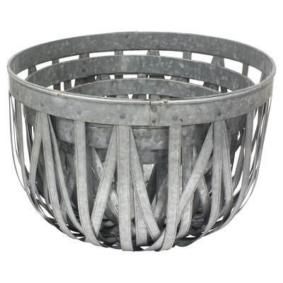 Stonebriar Round Galvanized Metal Basket Set - Set of 3