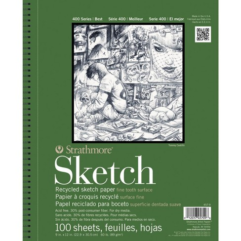 Strathmore 400 Series Recycled Sketch Pad, 9 x 12 Inches, 60 lb, 100 Sheets - image 1 of 1