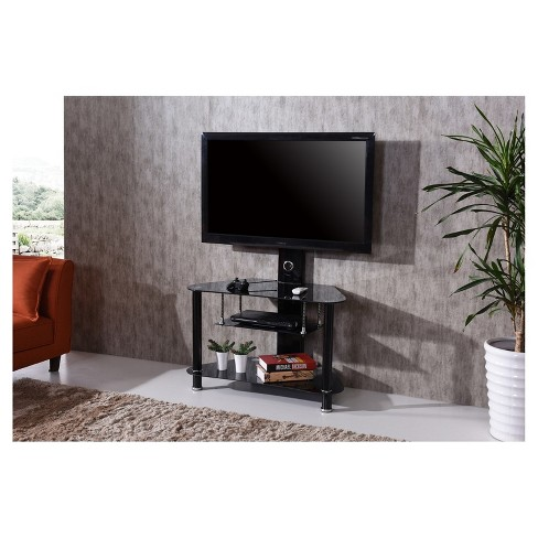 3 Shelf Glass Tv Stand With Swiveling Mount Black 36 Hodedah