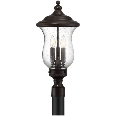 """Franklin Iron Works Outdoor Post Light Fixture LED Dimmable Bronze 23"""" Clear Seedy Glass for Exterior Garden Yard Driveway"""