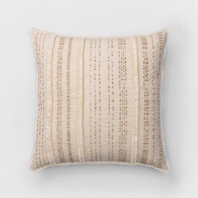 Corded And Tufted Oversize Square Throw Pillow Neutral - Opalhouse™
