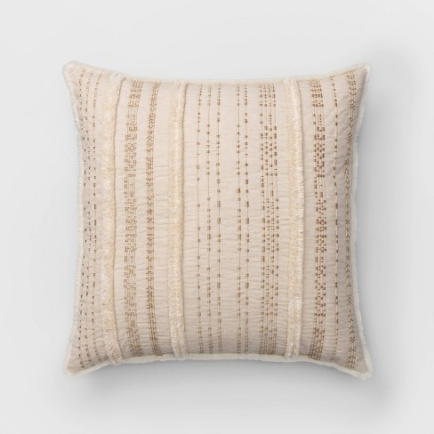 Corded And Tufted Oversize Square Throw Pillow Neutral - Opalhouse™ - image 1 of 4