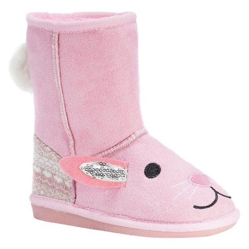 Toddler Girls' MUK LUKS® Bonnie Pink Bunny Shearling Style Boots - Pink - image 1 of 4