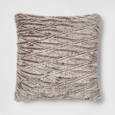 Euro Rouched Faux Fur Throw Pillow Beige - Threshold™