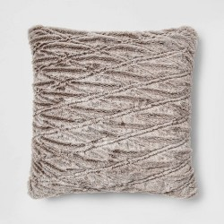 Euro Solid Ruched Faux Fur Throw Pillow - Threshold™