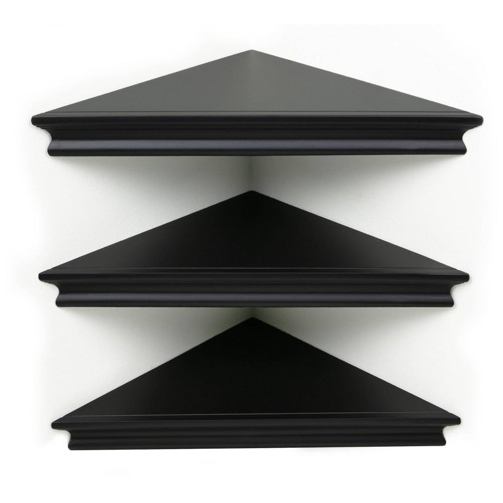 "Image of ""10.9"""" x 1.6"""" 3pk Providence Reilly Triangle Corner Shelf Set Black - Kiera Grace"""