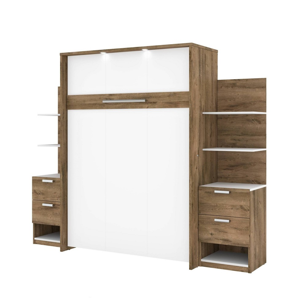 "Image of ""98"""" Elite Full Wall Bed Kit Rustic Brown/White - Bestar"""