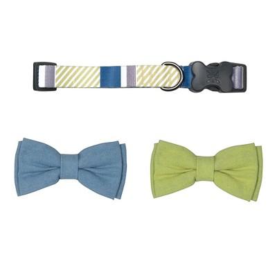Bow & Arrow Stripe Dog Collar with Bow Ties - Indigo - M