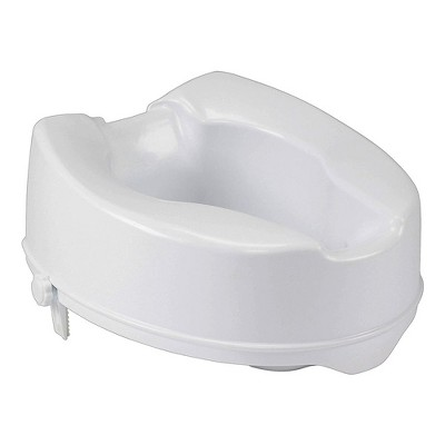 Drive Medical Safe Comfortable Polypropylene Raised Elevated Toilet Seat with Universal Fit and Stable Dual Locking Mechanism, White